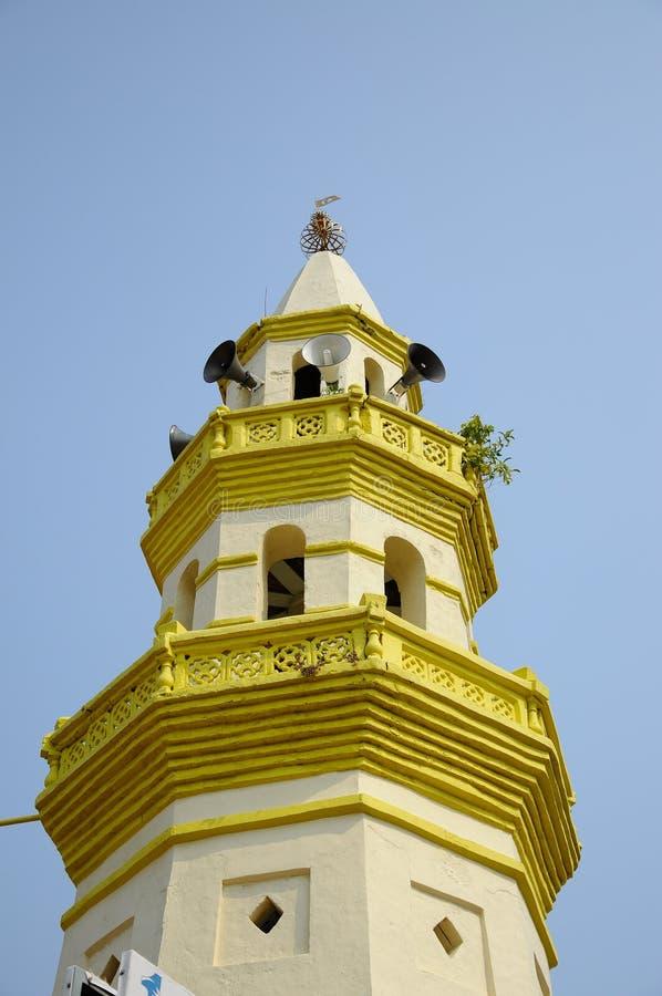 Minarett von Moschee a Kampung Duyong K ein Masjid Laksamana Melaka in Malakka lizenzfreie stockbilder