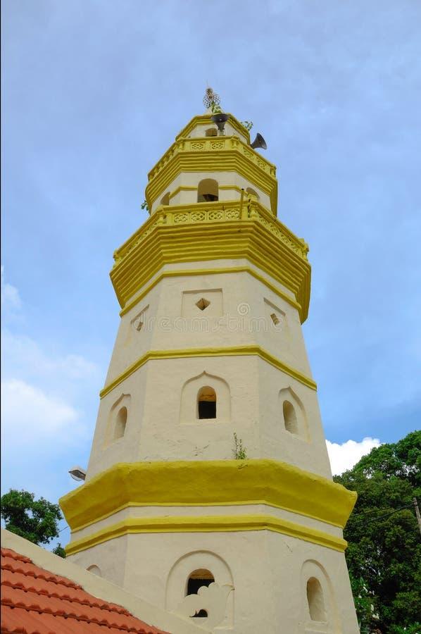 Minarett von Moschee Kampung Duyong in Malakka lizenzfreies stockfoto