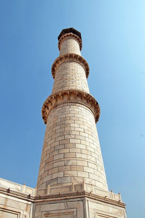 Minarett von Taj Mahal, Agra, Indien stockfotos
