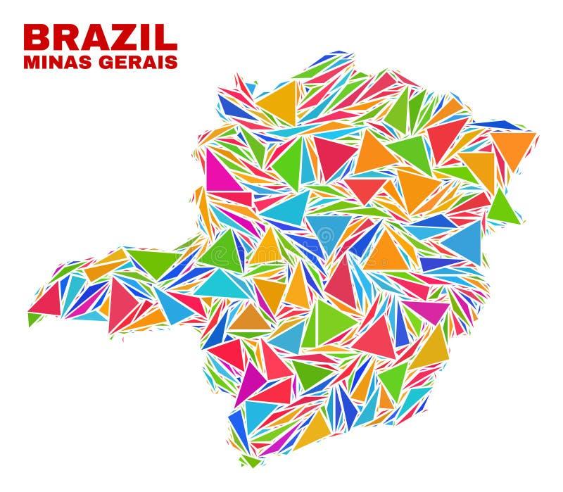 Minas Gerais State Map - mosaik av färgtrianglar vektor illustrationer