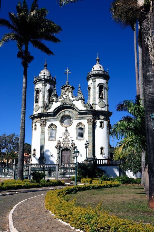 Minas van de joao del rey kerk van Sao gerais Brazilië stock afbeelding