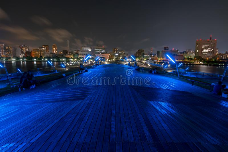Minato Mirai 21 area of Yokohama City at night in Kanagawa, Japan. Yokohama is the second largest city in Japan by population and most populous municipality stock photography