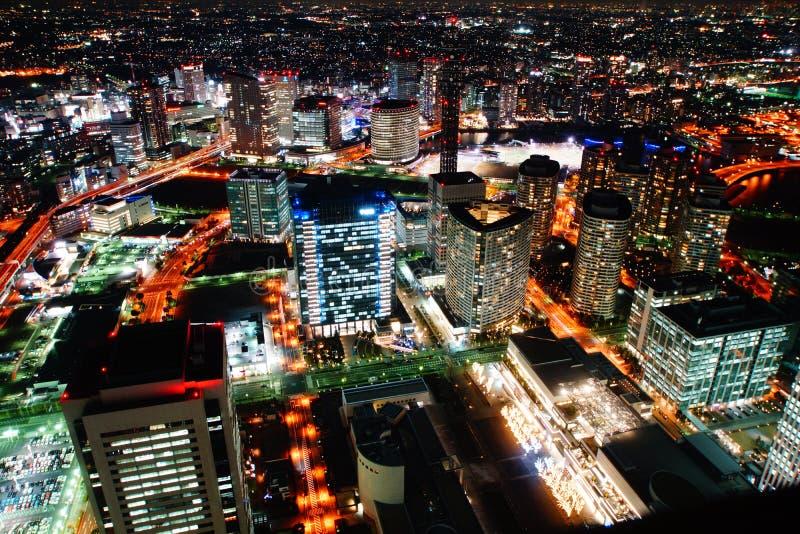 Minato Mirai de la vista nocturna foto de archivo