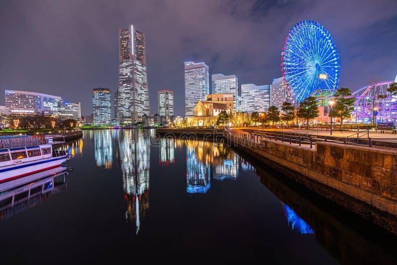 Minato Mirai f?r cityscapenatt f?r 21 omr?de sikt i Yokohama, Japan royaltyfria foton