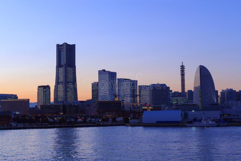 Minatomirai 21 area at dusk in Yokohama, Japan stock photo