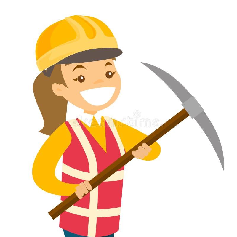 Minatore che lavora con la pala nella miniera di carbone illustrazione vettoriale
