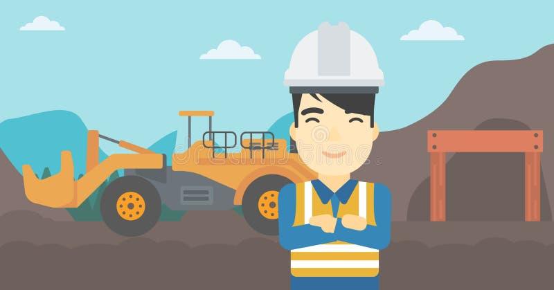 Minatore con attrezzatura mineraria su fondo illustrazione di stock