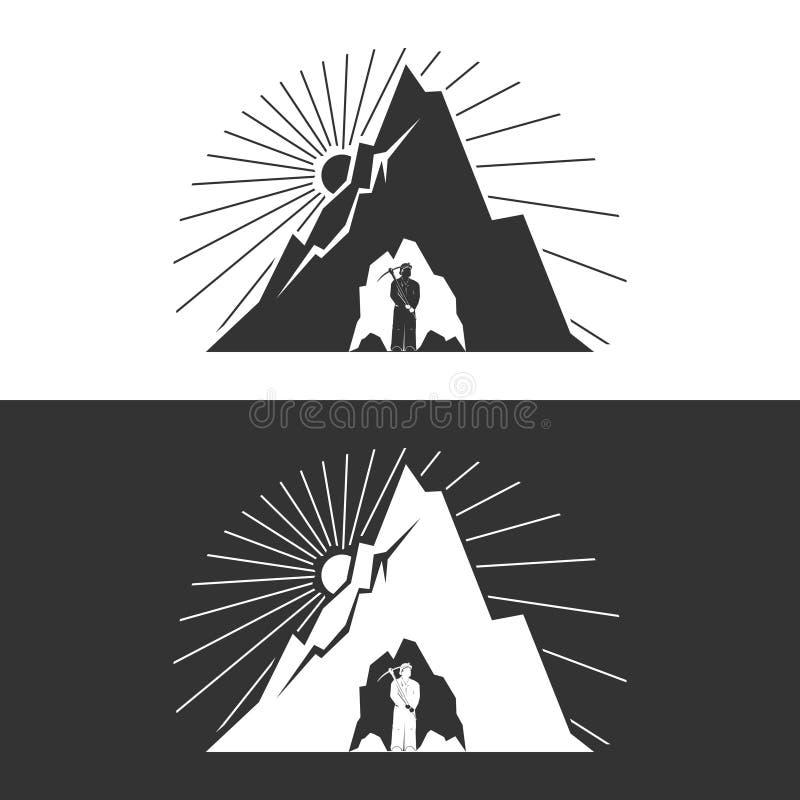 Minatore contro le montagne, elemento di progettazione royalty illustrazione gratis