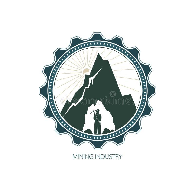 Minatore contro le montagne in marcia illustrazione vettoriale