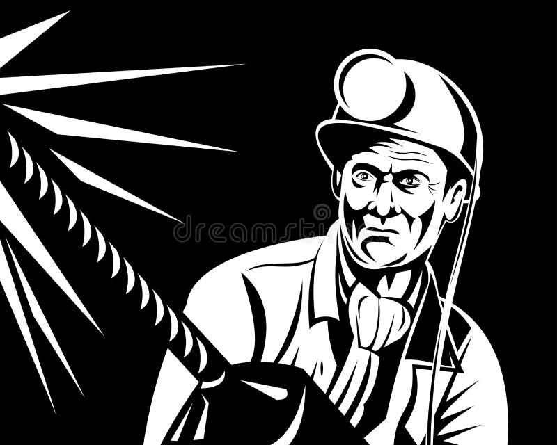 Minatore delle miniere di carbone con il trivello illustrazione di stock