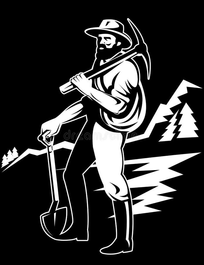 Minatore delle miniere di carbone con la pala del piccone illustrazione di stock