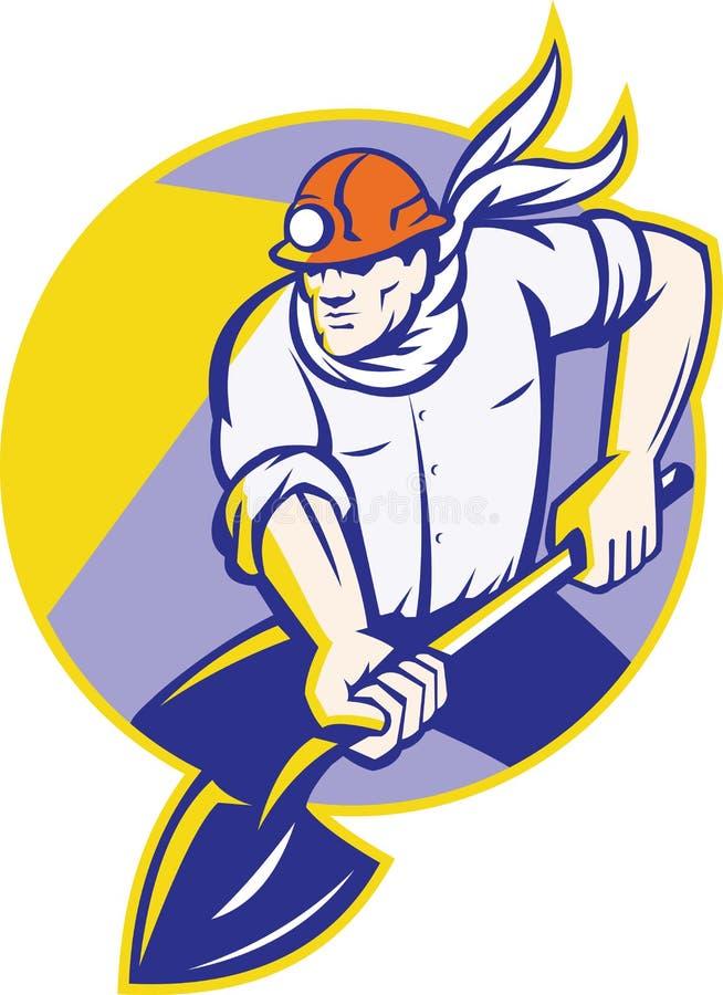 Minatore delle miniere di carbone Hardhat Digging Shovel retro illustrazione vettoriale
