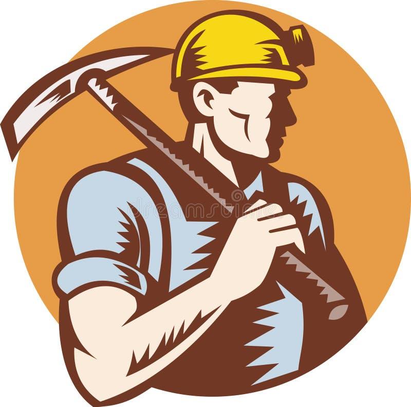 Minatore delle miniere di carbone sul lavoro con l'ascia del selezionamento illustrazione di stock
