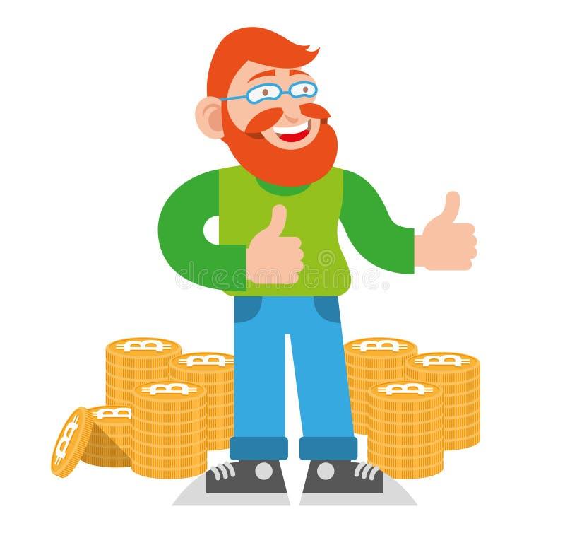 Minatore di Bitcoin illustrazione di stock