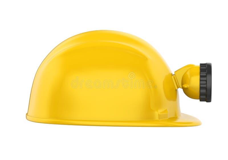 Minatore Helmet con la lampada isolata illustrazione di stock