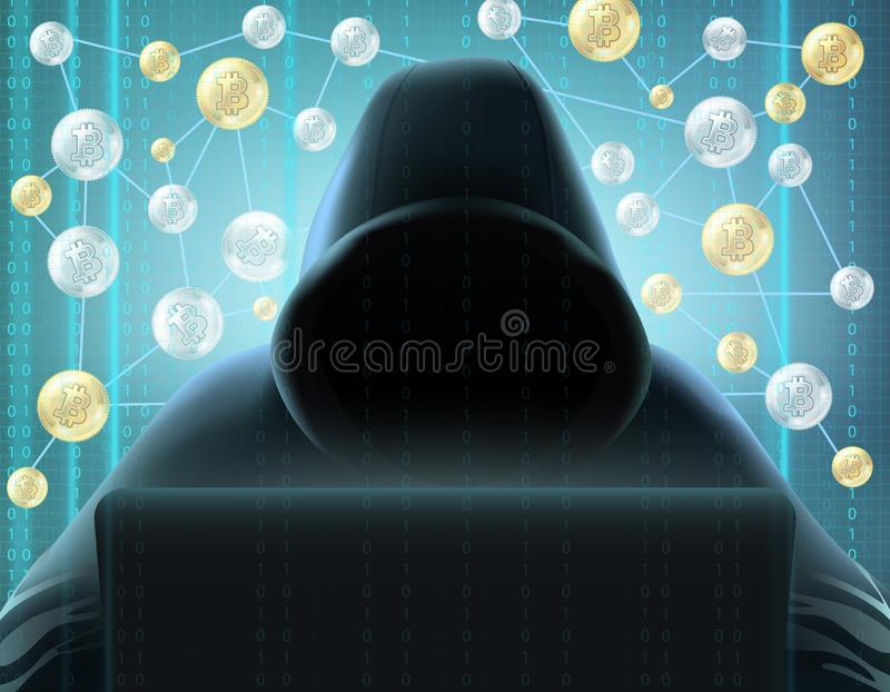 Minatore Realistic Image di Cryptocurrency fotografia stock