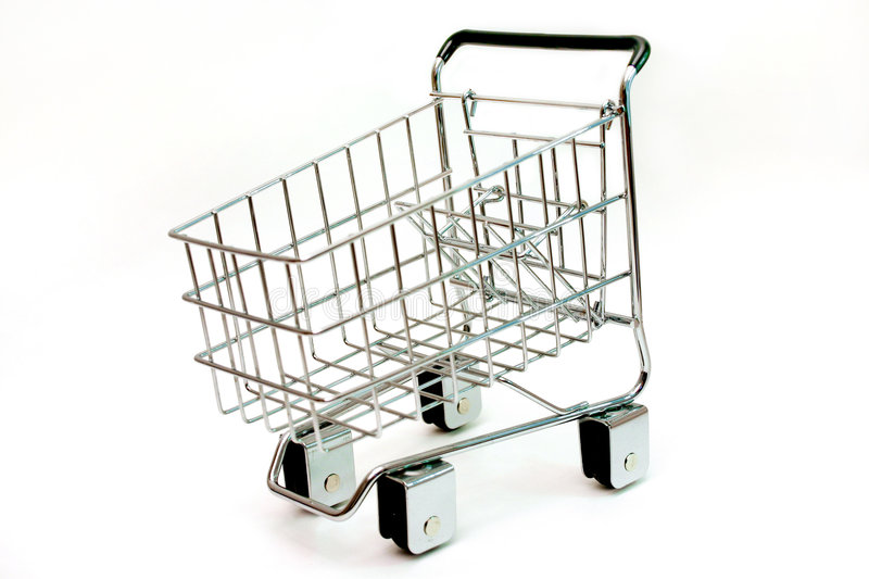 Minature shopping cart royalty free stock photography