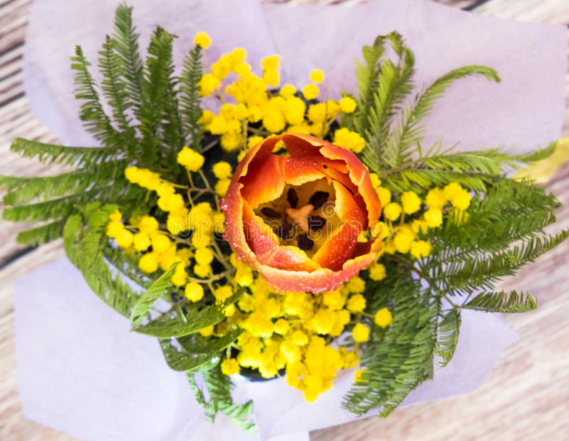 Minbucket ikebana från den perfekta gåvan för mimosatulpan till kvinnamodern på mars 8n royaltyfri bild
