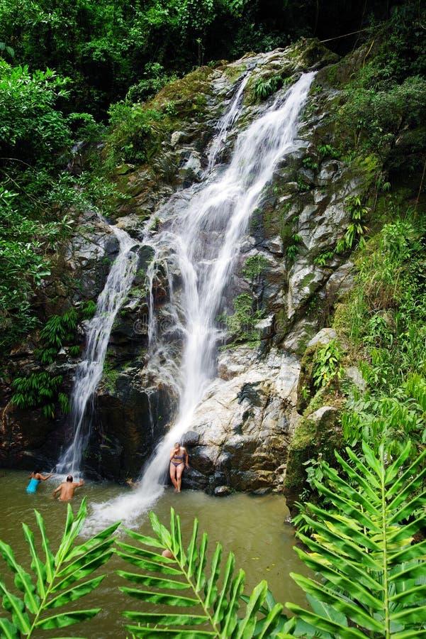 MINCA, КОЛУМБИЯ, 14-ОЕ АВГУСТА 2018: Cascada de Marinka, одна из привлекательности Minca стоковые изображения rf