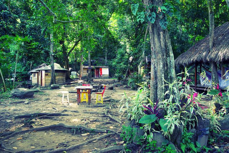 Ecological forest cottages in Minca, Sierra Nevada de Santa Marta Mountain. Minca is a charming village in the Sierra Nevada de Santa Marta, famous for its royalty free stock image