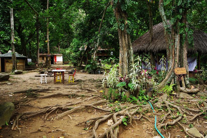 Ecological forest cottages in Minca, Sierra Nevada de Santa Marta Mountain. Minca is a charming village in the Sierra Nevada de Santa Marta, famous for its stock images
