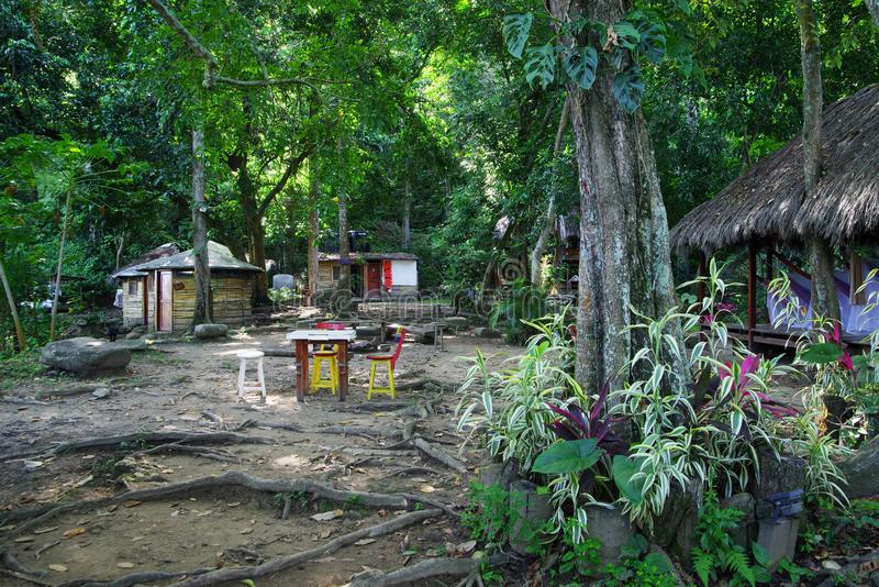 Ecological forest cottages in Minca, Sierra Nevada de Santa Marta Mountain. Minca is a charming village in the Sierra Nevada de Santa Marta, famous for its stock photos