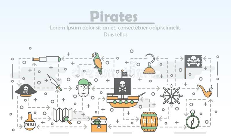 Mince Calibre Vecteur De Banniere D Affiche De Pirates De Schema Illustration De Vecteur Illustration Du Pirates Banniere 134740200