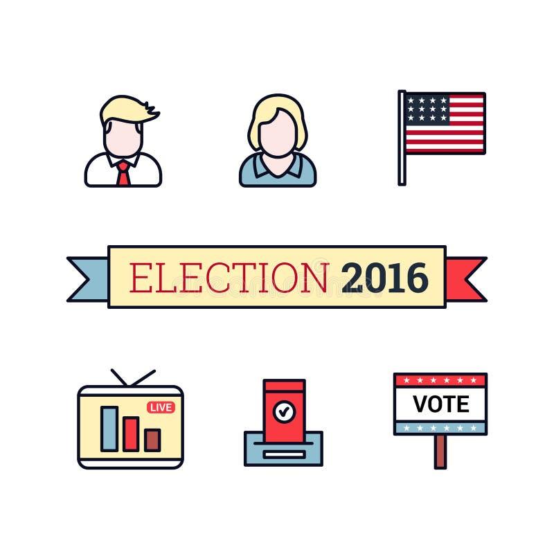 Mince icônes de schéma réglées Élection américaine 2016 Président des USA, drapeau, traduction vivante, signe de vote et vote illustration libre de droits