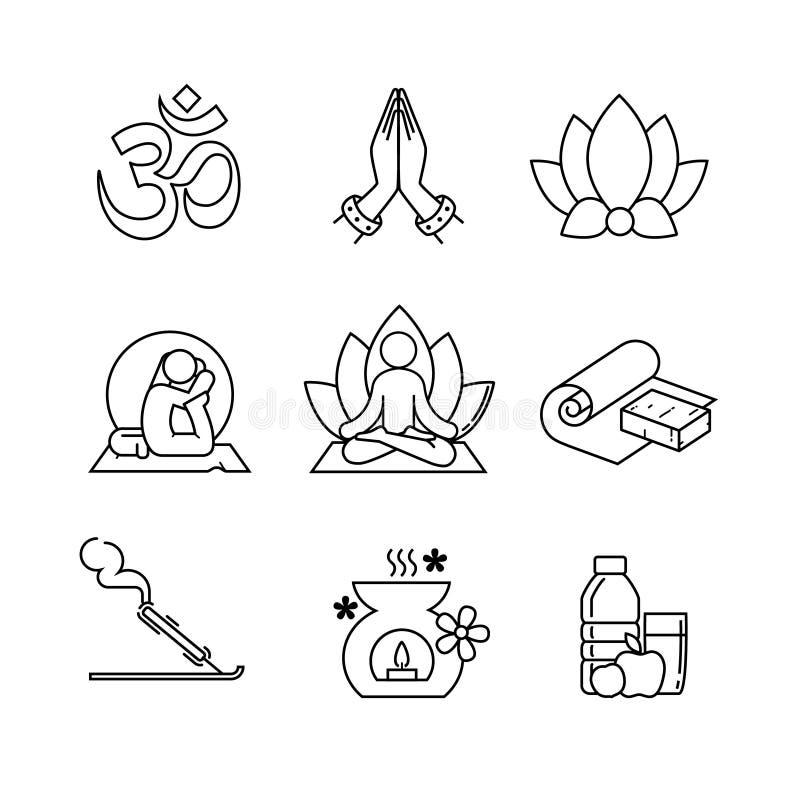 Mince icônes yoga de schéma réglées illustration de vecteur