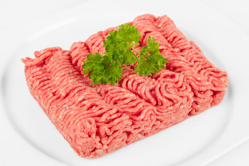 Mince meat. Fresh mince with herbal on white plate stock images