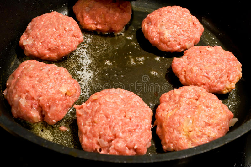 Mince meat balls in frying pan