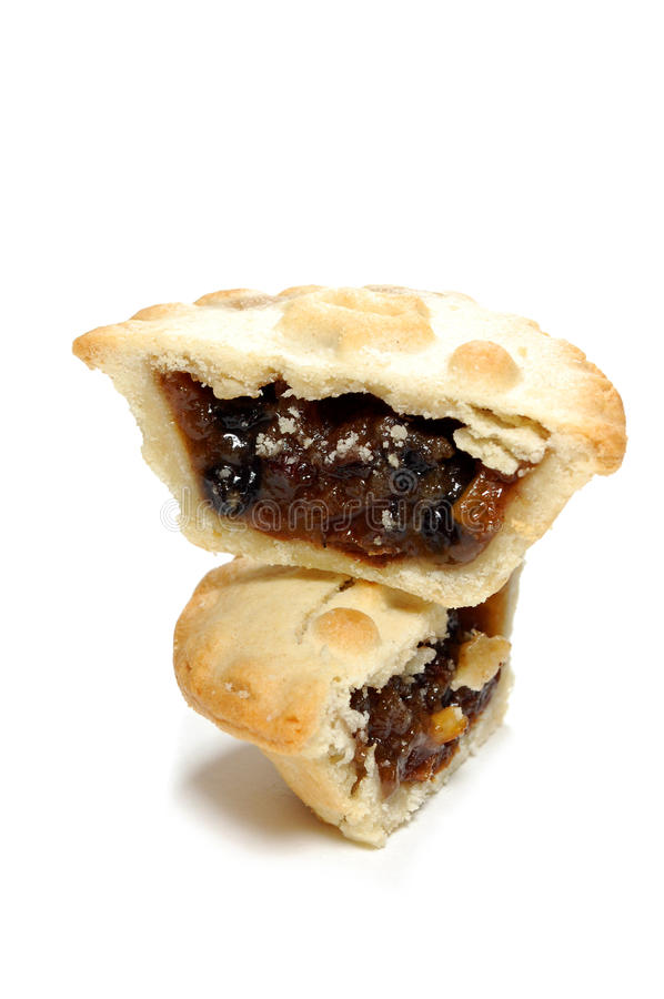 Mince pie. Sliced into two pieces stock photo