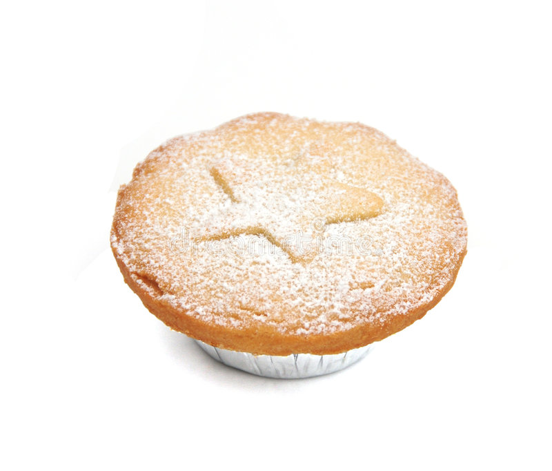 Mince pie. A festive mince pie on a white background royalty free stock image