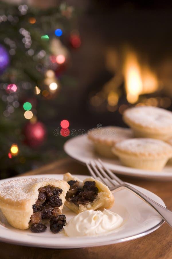 Mince Pie with Brandy Cream stock photos