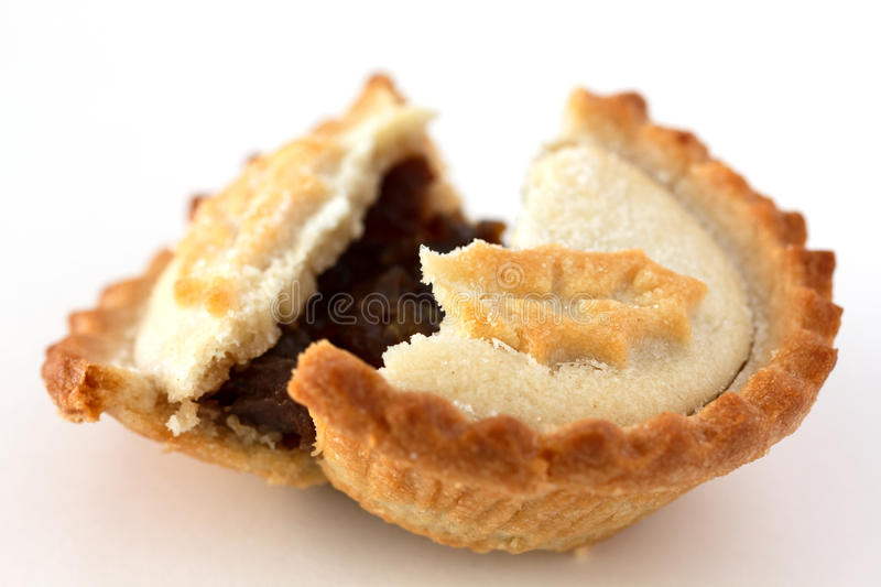 Mince pie. On white surface royalty free stock photos