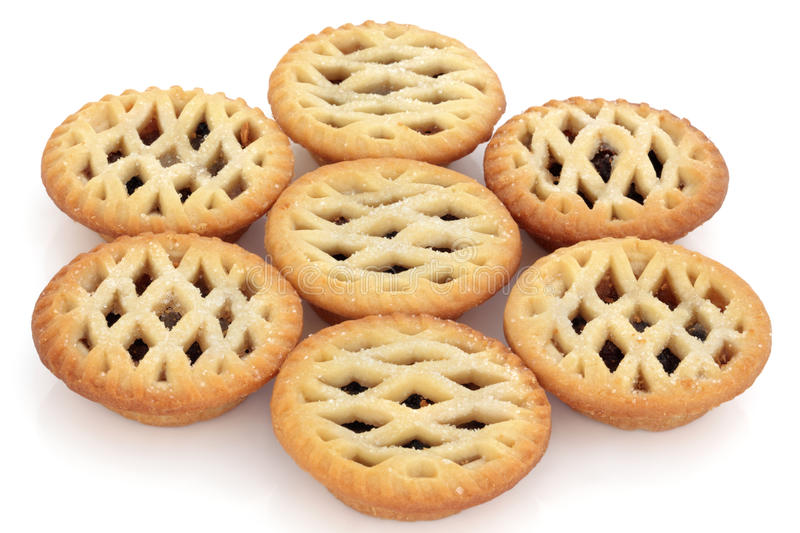 Mince Pies. Lattice mince pie group over white background. Selective focus royalty free stock images