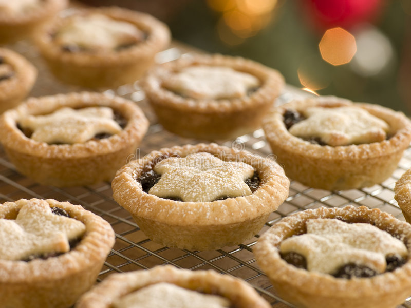Mince Pies on a Cooling rack.  stock photos