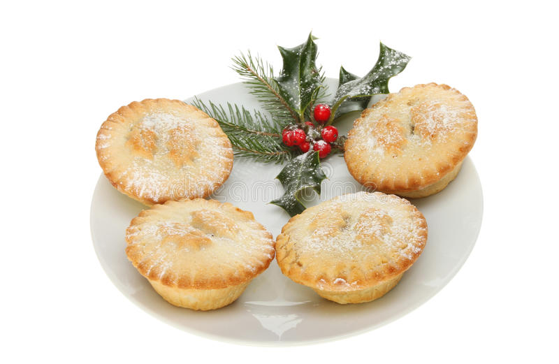 Mince Pies And Holly Stock Photos
