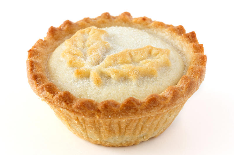 Mince piie. Baked mince pie on white stock photography