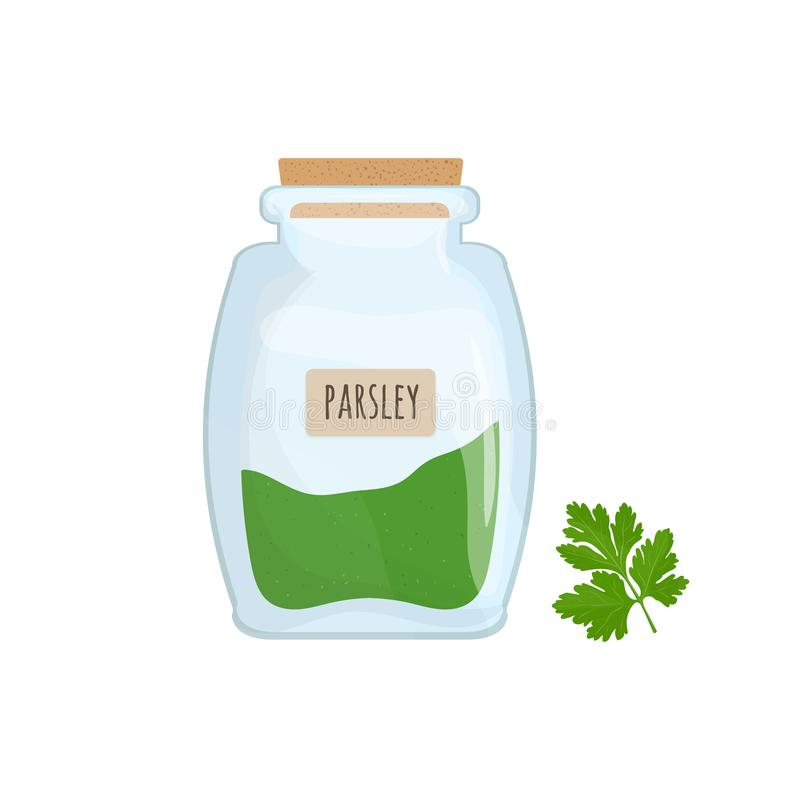 Minced and dried parsley stored in glass jar isolated on white background. Aromatic herb, tasty food spice, herbal royalty free illustration