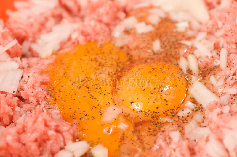 Minced meat. With parsley isolated over white royalty free stock photo