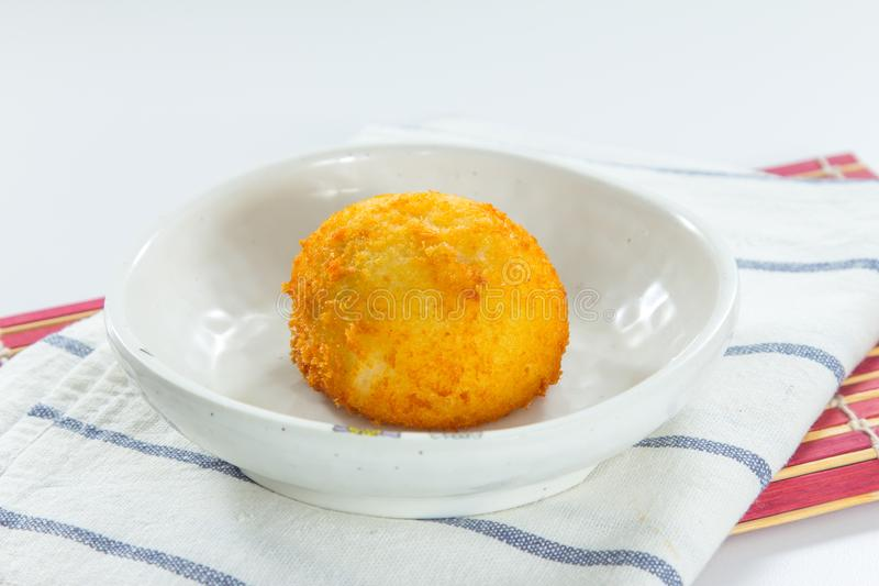 Fried or deep fried meat ball. Minced meat ball cuisine cooked by fried or deep fried stock photo