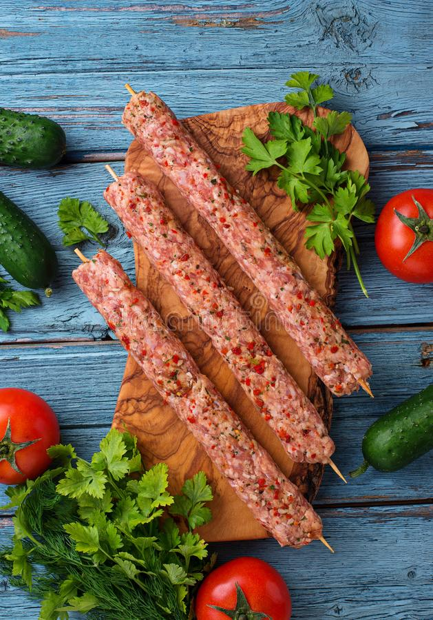 Minced meat skewers lula kebab stock photos