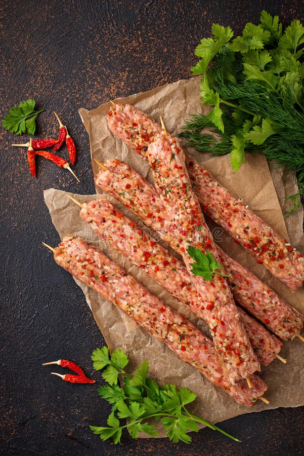 Minced meat skewers lula kebab royalty free stock photos