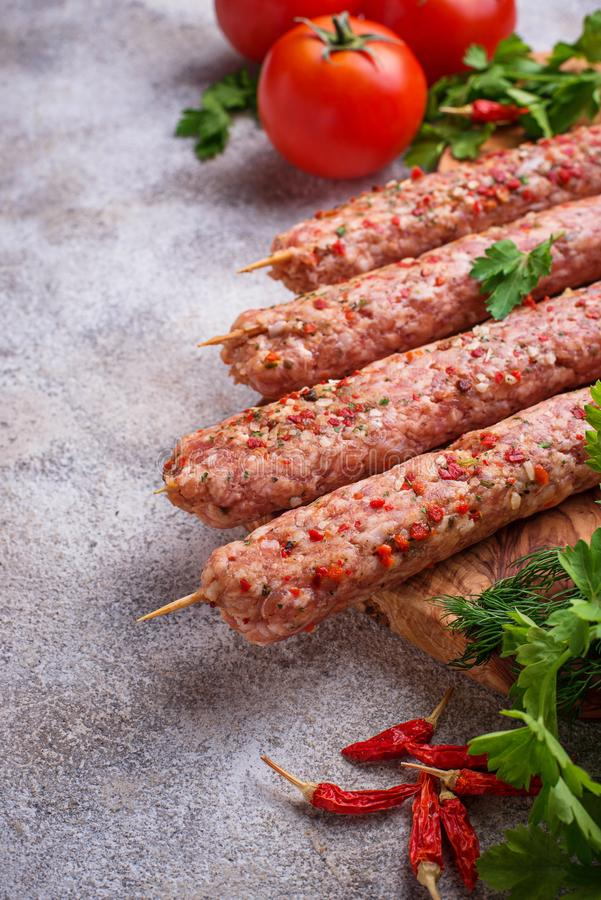 Minced meat skewers lula kebab royalty free stock image