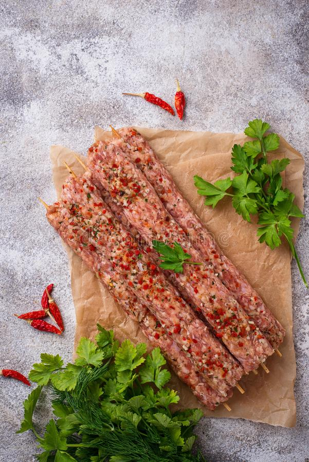 Minced meat skewers lula kebab stock photography
