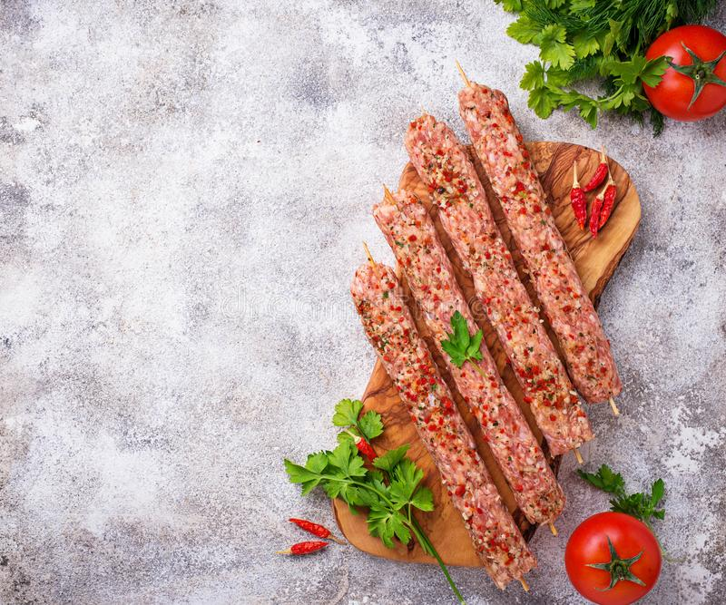 Minced meat skewers lula kebab stock images