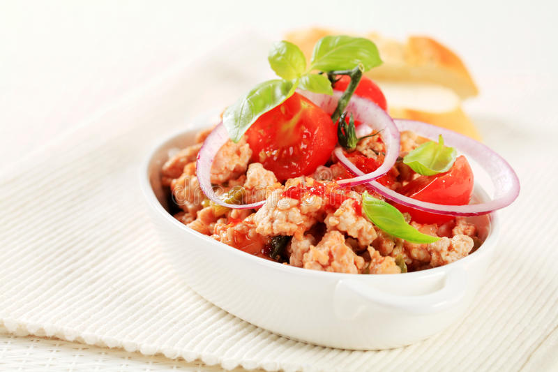 Minced meat stir fry. In a porcelain dish royalty free stock photography
