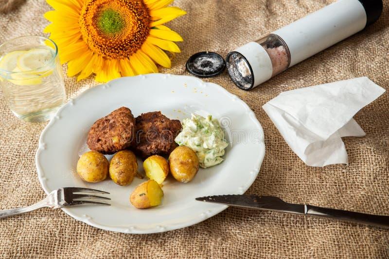 Minced mięsne piłki grula i upad, otwierają solankowego loch i słonecznika fotografia stock
