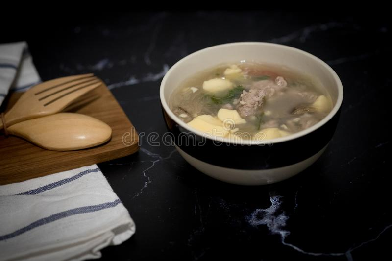 Minced pork and egg tofu hot soup royalty free stock photos